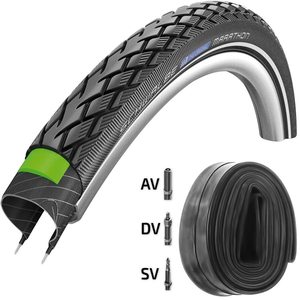 Schwalbe Reifen Marathon GG 28x1,75 + Schlauch 47-622mm black Reflex